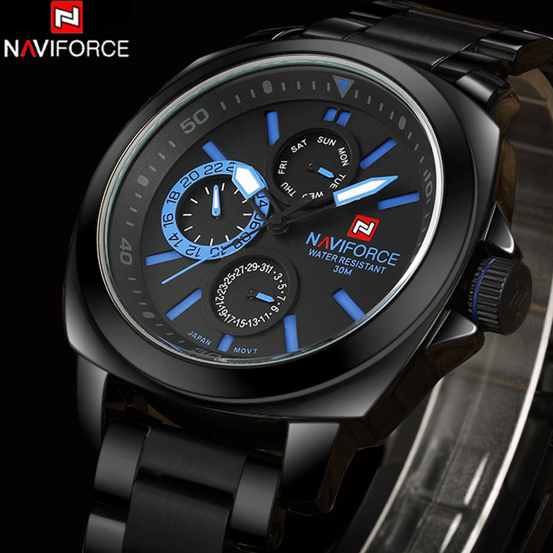 NEW NAVIFORCE Chronograph 24 Hours Luxury Brand Watch Men Full Steel Analog Display Quartz Men Business Watches Casual relogio