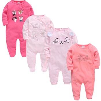 2019 3 4 pcs/lot Summer Baby Boy roupa de bebes Newborn Jumpsuit Long Sleeve Cotton Pajamas 0-12 Months Rompers Baby Clothes 3
