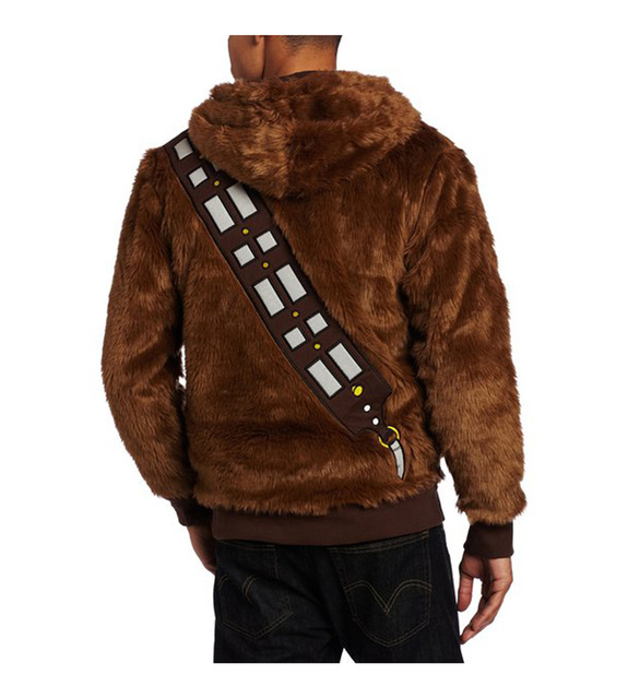 High quality Star Wars I Am Chewie Chewbacca Furry Polyester Brown Costume Men Hoodie Cosplay Jacket Coat  1