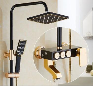 New Luxury Shower Set Gold And Black Bath Faucets Bath Taps Shower Faucet Column Black Shower Panel Rainfall Space aluminum