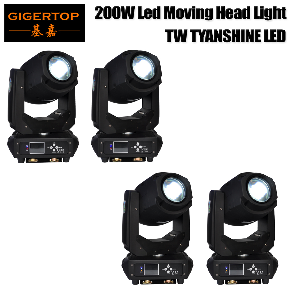 TIPTOP 4 Pack 200W LED Moving Head Lighting spot lighting dj set gobo christmas lights dj light projector for bar party event factory directly sale led 30w moving head spot light dmx512 gobo stage disco dj lighting club party christmas holiday led light