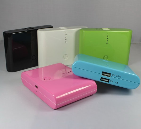 Free Shipping 5pc/lot 10400mAh battery power bank built-in 18650 cell Dual USB output for iPhone,PSP,camera,laptop,tablet