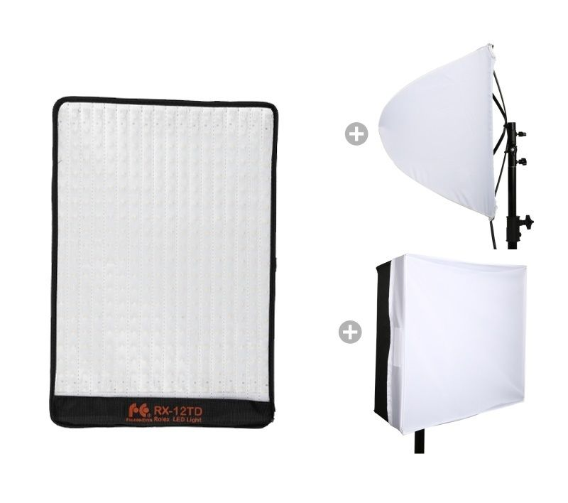 Falcon Eyes RX 12TD 280pcs Leds 50W Portable LED Photo Video Light Water Proof Flexible Rollable Cloth Lamp + Diffuser Set