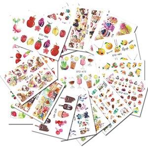 Image 3 - 58 yaprak meyve/kolye takı desen tırnak çıkartmalar Nail Art su transferi çıkartmalar karışık Nail İpuçları çıkartmaları dekor BESTZ455 512