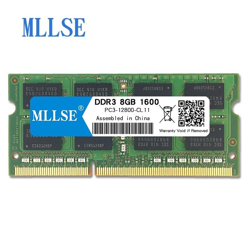 Mllse Laptop Sodimm Ram DDR3 8 GB 1600 V 1.5 mhz 204pin PC3-12800S não-ECC de memória Para notebook Notebook RAM memoria