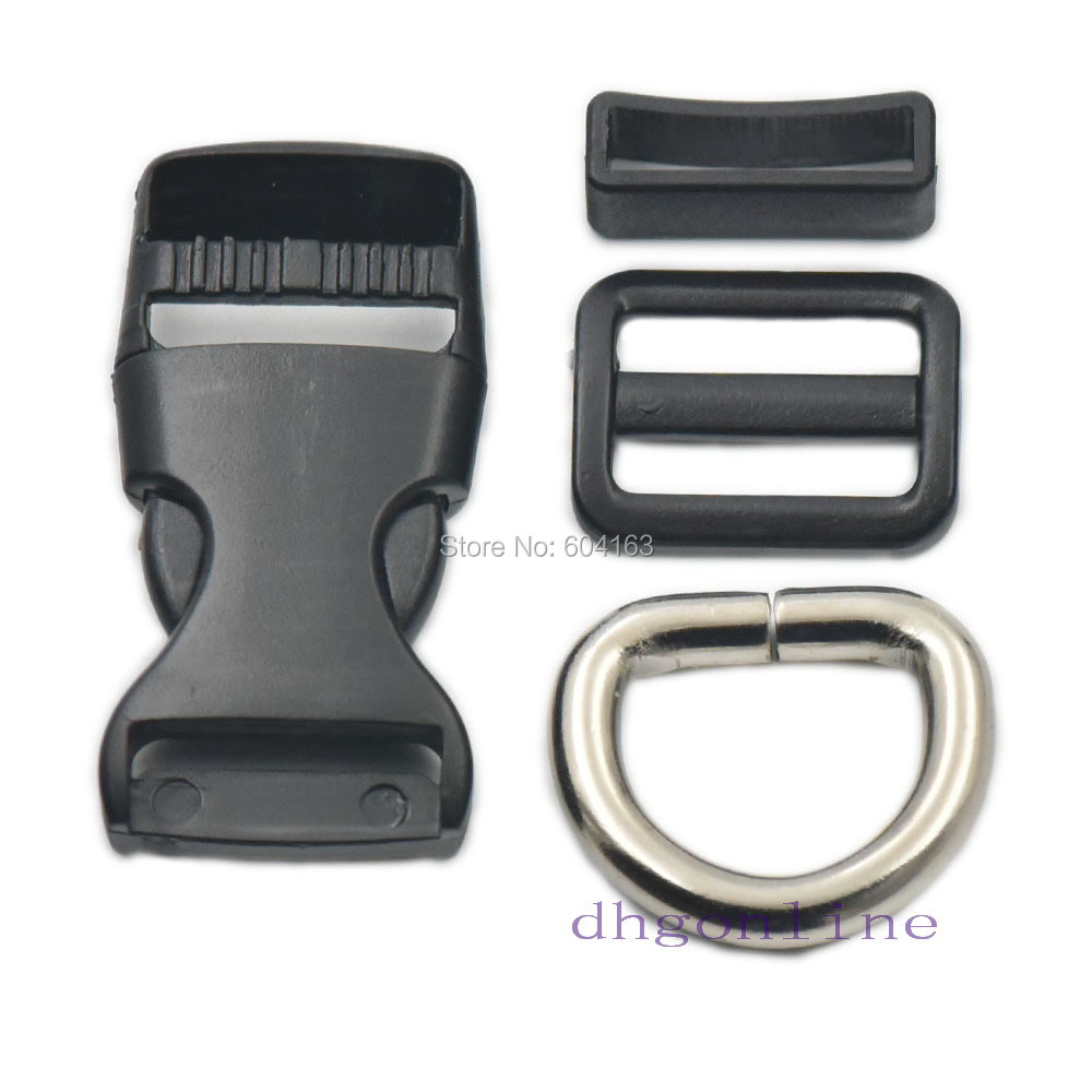 2 Sets Buckles Hook Clip D Dee Ring Side Release Adjustor Triglides dog collar Metal 3//4 19mm Nickle