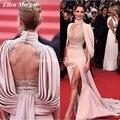 Cheryl Vestidos de La Celebridad 2017 Sexy Red Carpet Oscar Fernandez Satin Dividir Lace Opacidad Sin Respaldo de Cuello Alto Vestidos de Noche
