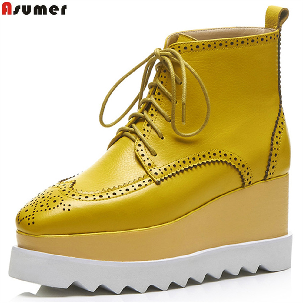 ASUMER fashion spring autumn new shoes woman boots square toe lace up platform wedges boots genuine leather ankle boots odetina fashion genuine leather ankle boots flat woman round toe platform lace up boots autumn winter casual shoes big size 43