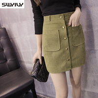 Short Leather Skirt Amry Green New 2015 New Winter Faux Suede Skirt With Pockets Ladies Saia