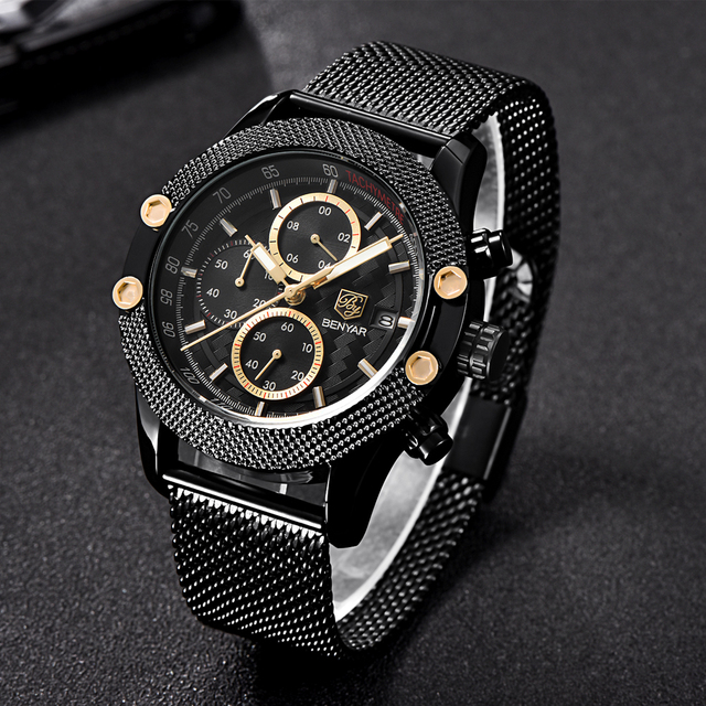 BENYAR Sport Chronograph Fashion Watches Men Mesh & Rubber Band Waterproof Luxury Brand Quartz Watch Gold Saat dropshipping