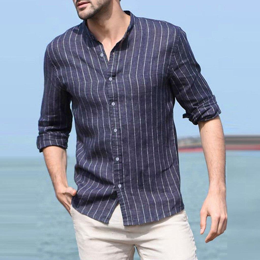 Homme chemise ample coton lin rayé Vaderdag manches longues bouton rétro haut Blouse très confortable Cadeau maitresse
