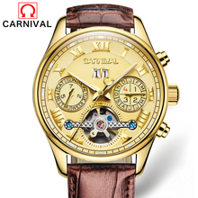 Switzerland Top Brand Watches 2017 New CARNIVAL Clock Men Automatic Mechanical Watch Leather Strap Gold Wristwatches 3atm C-8602