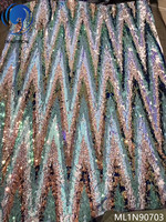 Beautifical african fabrics sequins net lace fabric multicolor sequins nigerian fabric lace for dresses 5yards/lot ML1N907