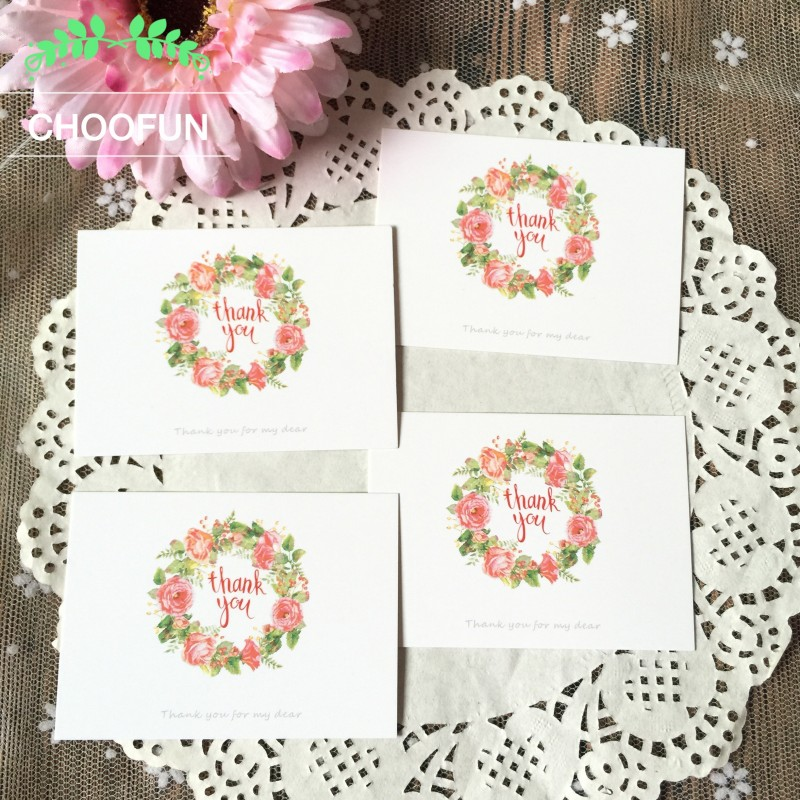 50pcs/lot Flowers Wreath THANK YOU Style Paper Card Rewards Gift Decoration leave a Message Card Invitations Card ZS002