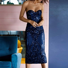 Ocstrade Sexy Bodycon Dress 2019 New Navy Blue Women Knee Length Sequin Party Sleeveless Strapless Dresses