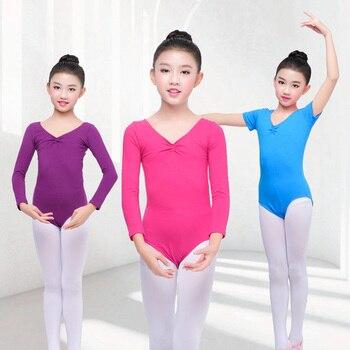 Girls Ballet Dance Costume Kid Long/Short Sleeve Cotton Kids Turnpakje Leotard Gymnastics Dancewear for - discount item  8% OFF Stage & Dance Wear