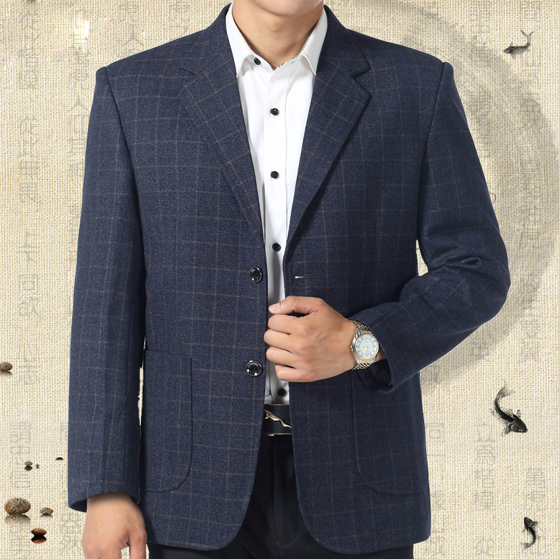 Plaid Man Blazer Fashion Casual Long Sleeve Office Wear Suits And Jackets Loose Blue Grey Male Spring Autumn Blazers A3633