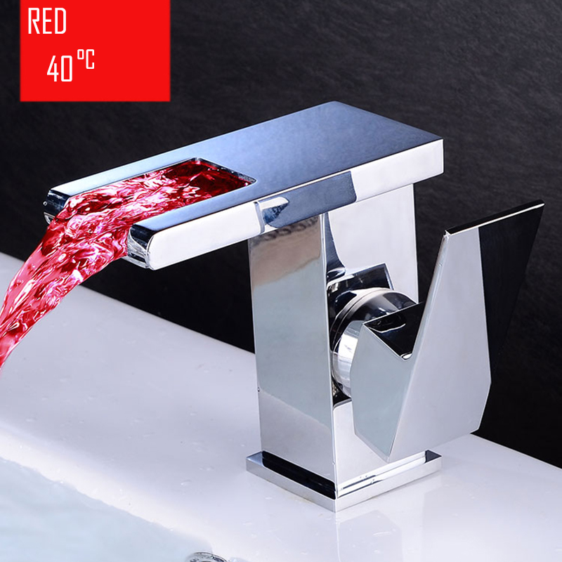 BECOLA salle de bain cascade robinet à LED. Robinet de lavabo en laiton avec cascade en verre. Mitigeur de salle de bain mitigeur lavabo monté sur le pont - 4