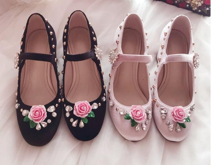 fashion Rose flower rhinestone velvet chunky heel buckle woman shoes Mary Jane buckle high heels pink
