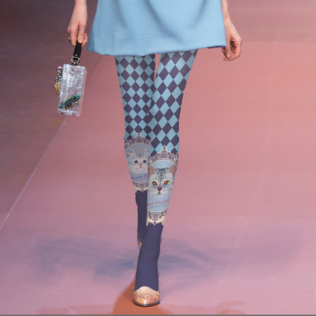 2017 Reales Medias de Las Mujeres de Alta calidad Impresa Medias Japón Sufeng Originales del Gatito Pantimedias Rejilla Desfiles de Moda Elegante Leggings