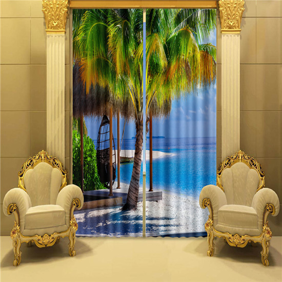 Palm tree window curtain 3d curtains for living room - Rideaux originaux pour salon ...