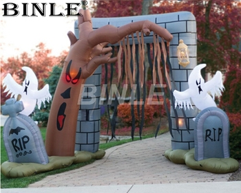 Hot sale led lighted inflatable halloween arch with ghost dead tree Cemetery entrance archway for yard decoration