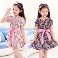 Горяч-продавать! 2015 Новорожденных Девочек цветы платье Девушки цветочные платья летние дети Платье принцессы Ребенка хлопка юбка платье