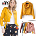 THYY Faux Leather Women Jackets 2016 New Fashion Outerwear Coats Black/Yellow/Red/Blue Leather Jackets Women Faux Leather Coat