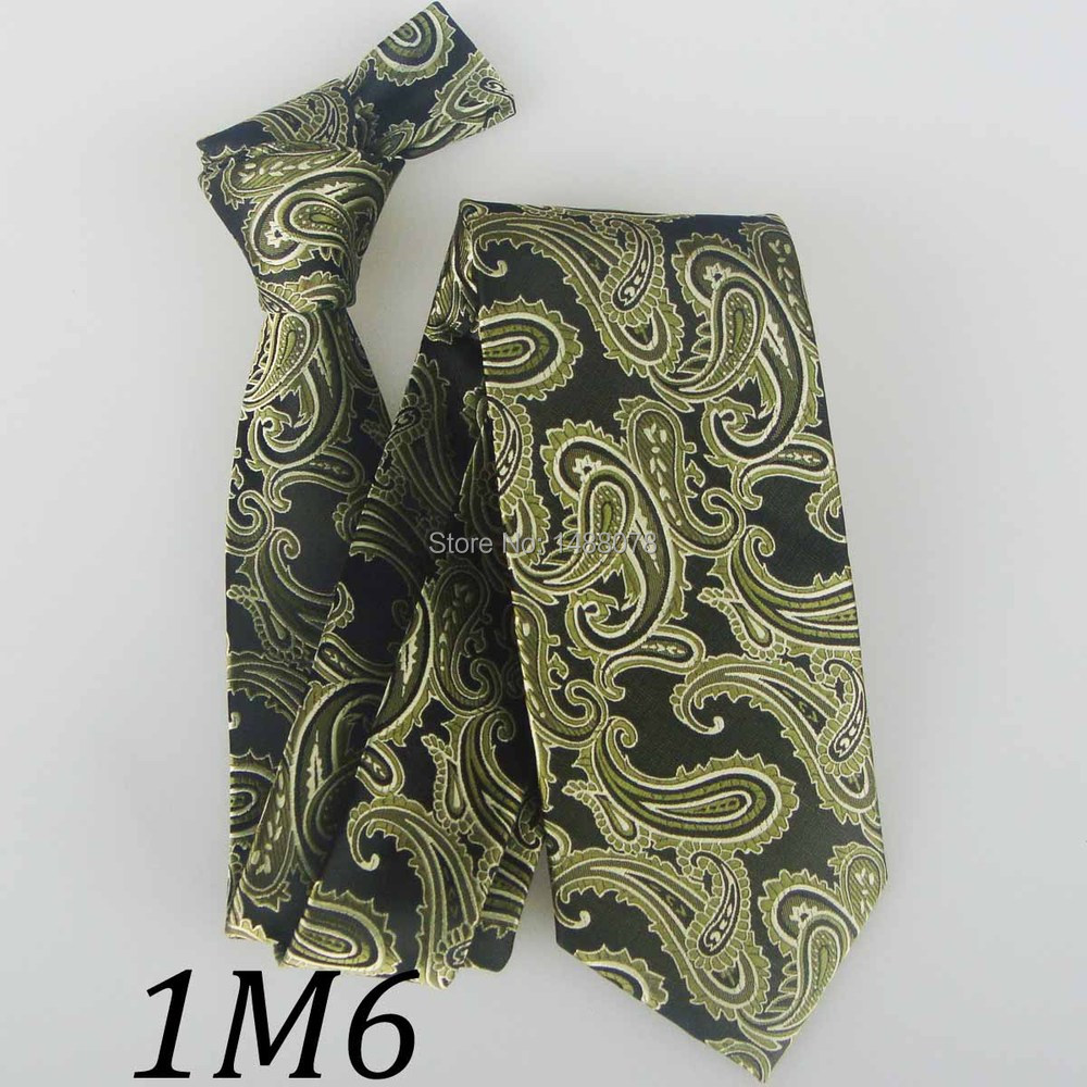Olive Green Paisley Ties 1M6+