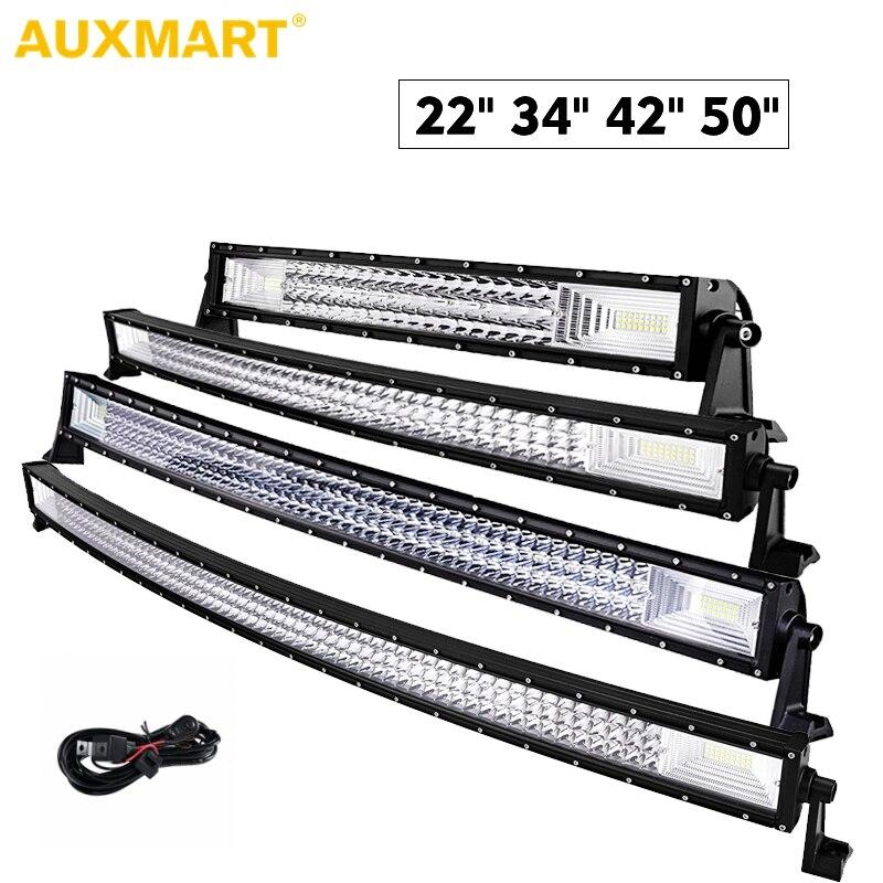 цена на Auxmart Triple Row 22 34 42 50 Curved LED Bar LED Light Bar Work Light Drving Lamp Combo Spot Flood Beam For offroad