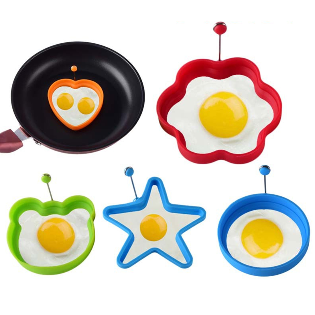 Silicone Fried Egg Shaper Pancake Mould Mold Kitchen Cooking Tools Form For Frying Eggs Tools Omelette Mould image