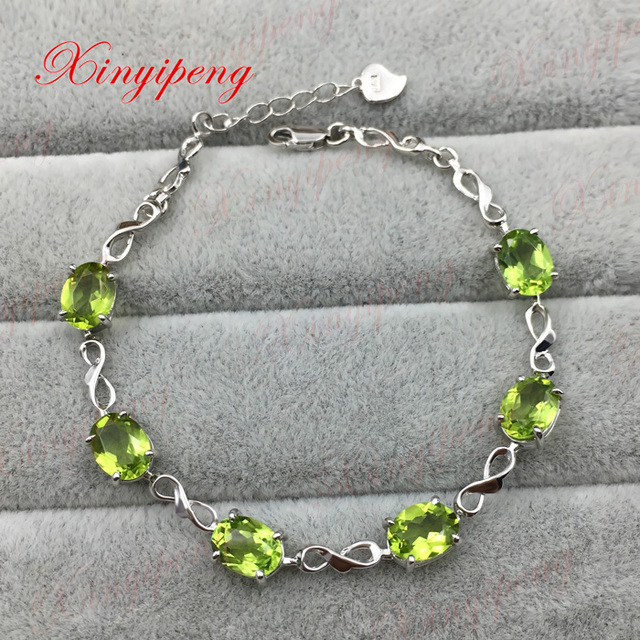 925 sterling silver with 100% natural peridot bracelets women Fashion is pure and fresh Colored gems