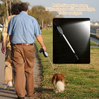 Dogs Leash Automatic Retractable Pet Collar Lead With Reflective Tape Clean Up Waste Dispenser Bag For