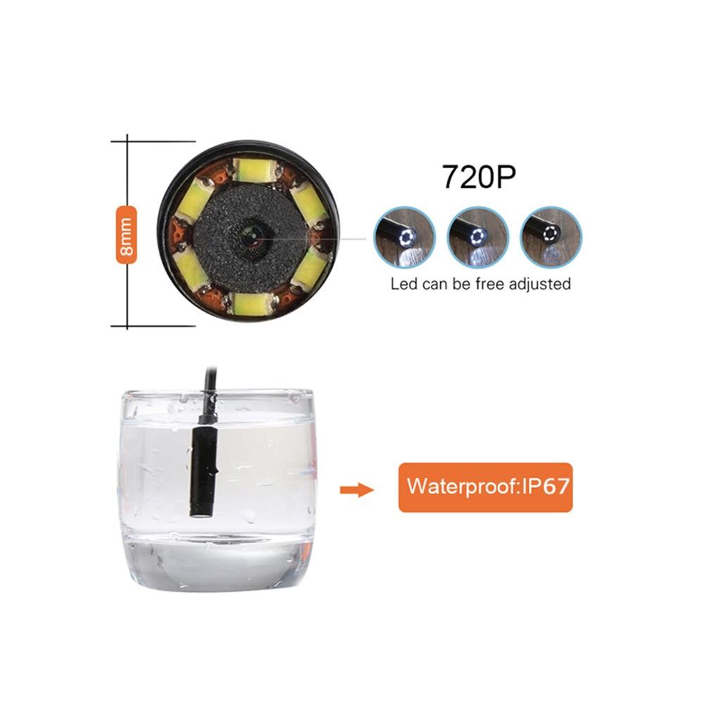 Wifi Endoscope Camera HD 8mm USB Endoscope Hard Cable Mini Camera Phone Android Inspection Camera Led Surveillance Tube Pipe