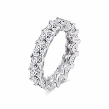 Fashion jewelry 100% New Brand Design White Gold GF Swarovski Crystal Wedding Band Ring Sz 6-8 Gift the whole row with color