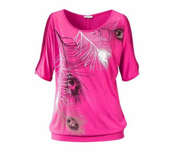 Sponge mice Summer T shirt Women  large size round neck feather print strapless short-sleeved lady's T-shirt 4colro