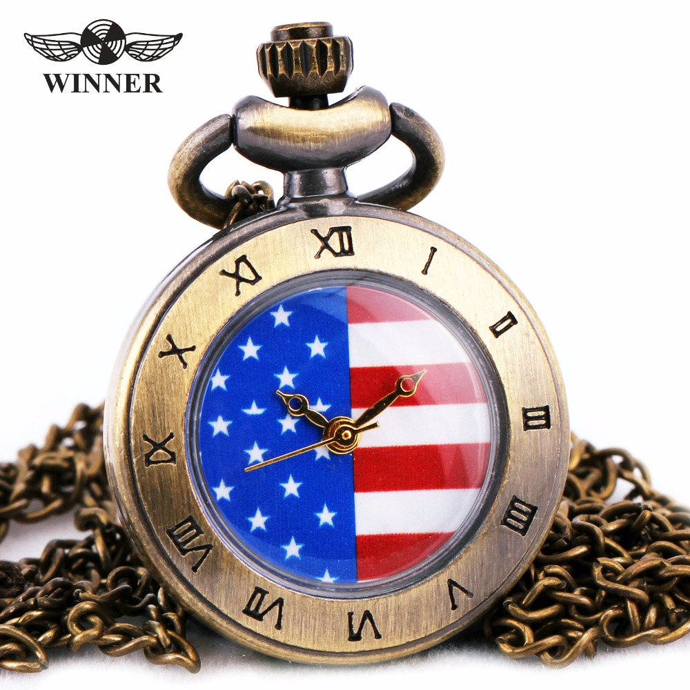 WINNER Antique Unisex Womens Mens Quartz Pocket Watches American Flag Pattern Roman Number Bezel Embossed Case + GIFT BOX wholesale opening film ru tea caddy sealed cans antique embossed pattern logo customized gift packaging