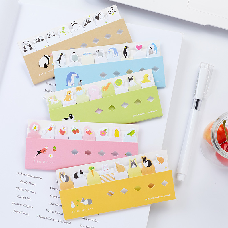 8 pcs/Lot Cute animal in row sticky notes and memo pads Post bookmark Cartoon cat panda stickers Office School supplies DM730
