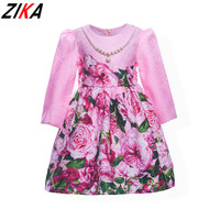 ZIKA Baby Girl Princess Dress 3 10 Years Kids Autumn Winter Pearls Pink Rose Dresses For