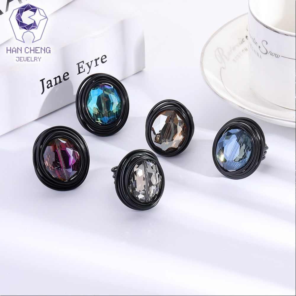 HanCheng แฟชั่นสีลมโลหะลวดหัตถกรรม Big หินทำด้วยมือแหวนสร้างแหวนคริสตัลสำหรับเครื่องประดับอัญมณีแหวน