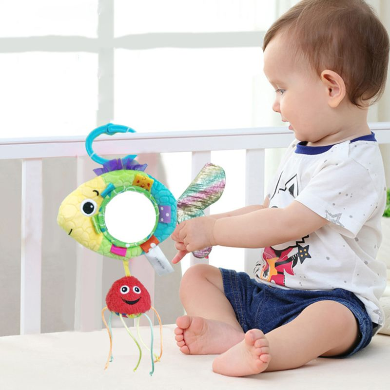 Baby Stroller Pendant Newborn Sleeping Infant Kids Plush Fish Cartoon Mirror Pacifier Hanging Bed Cute Toys Soft Squeaky Rattle Reasonable Price Strollers Accessories