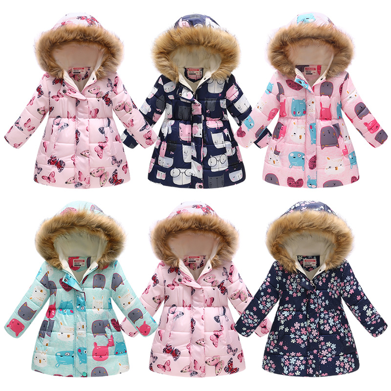3-10Yrs Children's Thicken Winter Coat Girls Cute Printing Warm Coats Girl Winter Cotton Cartoon Hooded Outerwear Kids Clothes