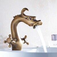 Fashion Style Bathroom Dragon Mixer Taps Antique Brass Finished Bathroom Basin Dual Holder Faucet Crane Faucet AF1040