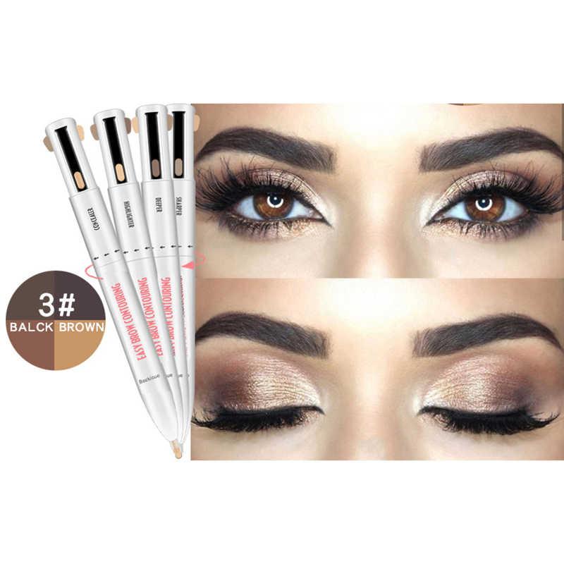 ELECOOL wodoodporny naturalny brwi pióro barwnik do brwi makijaż trzy kolory brwi ołówek brązowy czarny blond pędzel kosmetyki