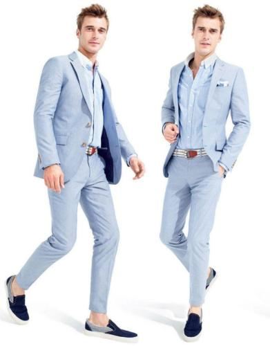 Bespoke Men Morning Suits 2017 Tailcoat Groom Wedding Tuxedos Light Blue Yong Men Daily Work Wear Blazer Pants(Jacket+Pants+Tie)