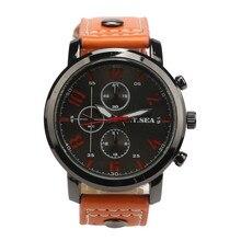 2019 Simple Leather Watch Luxury Digital Engraved Holiday Three Eyes Black Blue