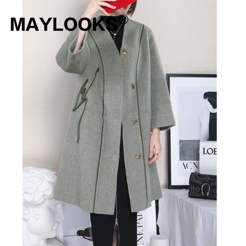 Moutons Manteaux Vert Maylooks Épais Longue Vestes Mode 2018 De 38501 Manteau Fourrure Tonte Laine Femmes Chaud Veste Des Véritable D'hiver Tranchée 1RwqROAC