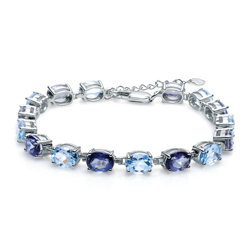 Gem's Ballet Natural Oval Sky Blue Topaz Mystic Quartz Gemstone 925 Sterling Silver Bracelets & Bangles For Women Fine Jewelry