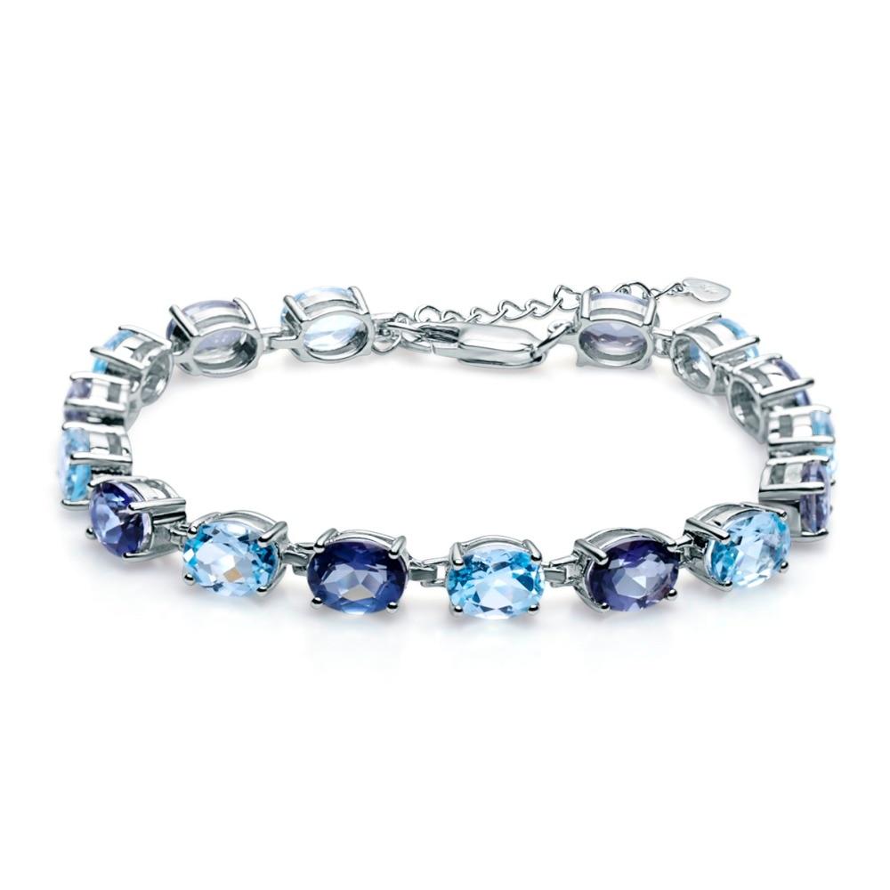 Gemme Ballet naturel ovale bleu ciel topaze mystique Quartz pierre précieuse 925 en argent Sterling Bracelets et Bracelets pour les femmes bijoux fins