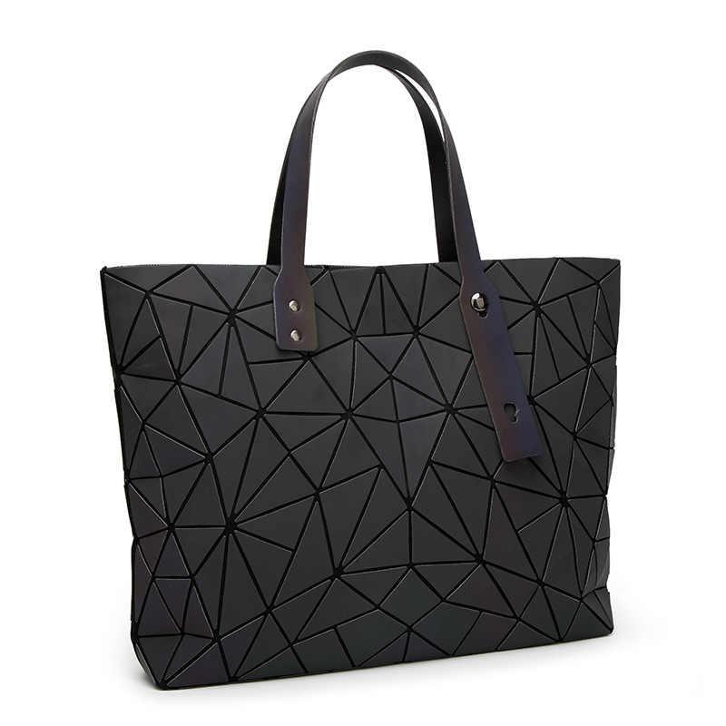 2018 новые сумки женские сумки сумка с геометрическим рисунком блестки зеркальные Светоотражающие простые складные сумки через плечо яркие сумки голограмма